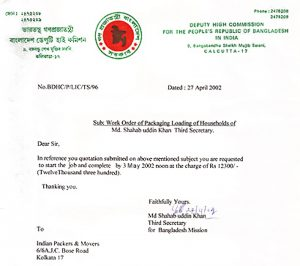 Bangladesh Dy. High Commission - 27.4.02